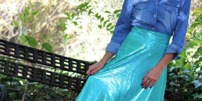 13a530243 Falda midi lentejuelas Verde agua     libe-llule.com